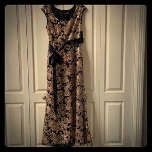 Betsy & Adam Black Gold Sequins Ribbon Dress
